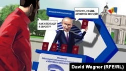 """Autorul dialogului din imagine este Maxim Djamanov, câștigătorul Concursului de Replici Politigraf organizat săptămânal pe Facebook. """"-Cum ajung în Europa?""""; """"-Devenind agentul Popa!"""" este o posibilă traducere care, desigur, nu redă înțelesul profund al originalului."""
