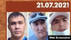 Слева направо: Асылхан Жаубатыров, Бекижан Мендыгазиев, Ерулан Амиров. Коллаж со страницы правозащитной организации «Альянс Тирек»