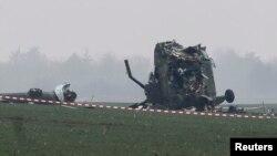 Srušeni helikopter na mestu nesreće