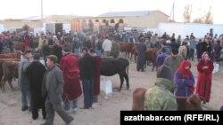 Скотный рынок в Лебапском велаяте Туркменистана, архивное фото.