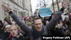 Алексей Навальный на акции протеста в Москве 28 января 2018 года, архивное фото