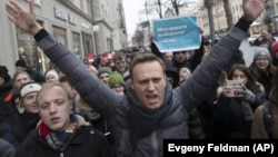 Նավալնին Մոսկովյան ցույցի ժամանակ, 28-ը հունվարի, 2018թ․