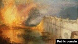 Уільям Тэрнэр, «Пажар Палаты лордаў і Палаты абшчынаў» (1834).