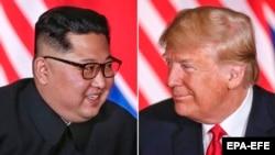Colaj: liderul coreean Kim Jong Un și președintele SUA Donald Trump