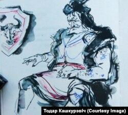 А. Кашкурэвіч. Ілюстрацыя да паэмы Янкі Купалы «Курган» (1967)