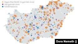 Betöltetlen praxisok Magyarországon idén szeptember elsejétől. A körök mérete a körzetekhez tartozó ellátandókat mutatja.