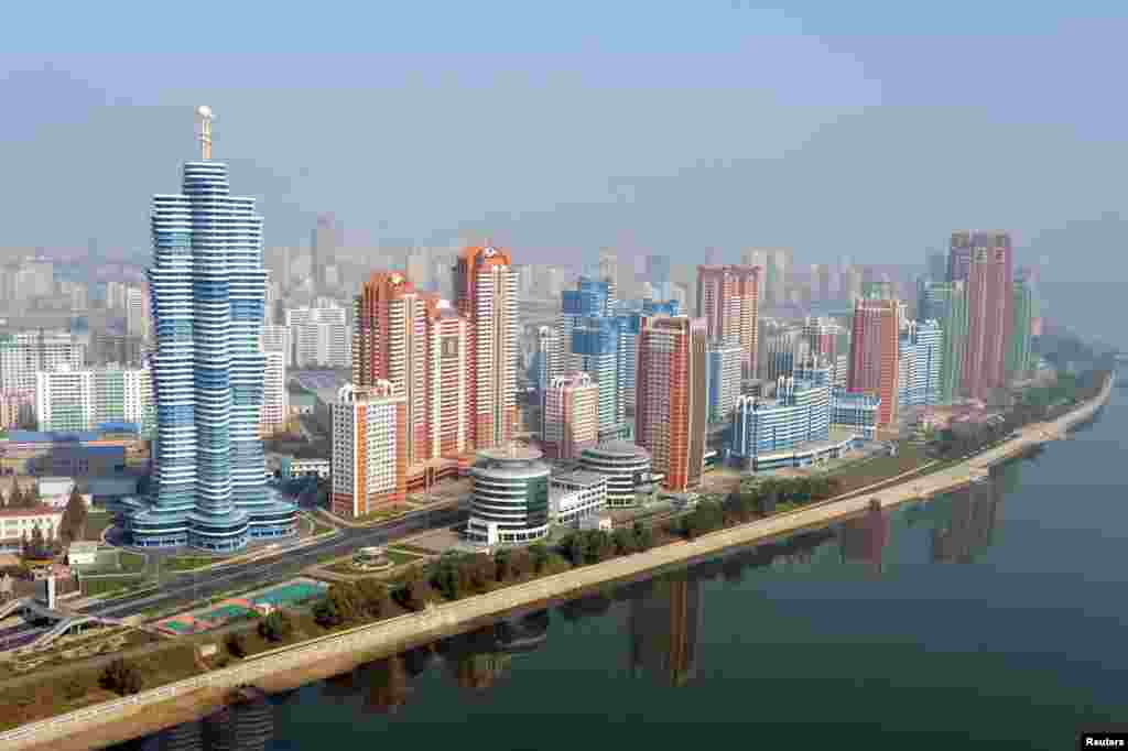 But in recent months the Pyongyang skyline has been looking rather...futuristic. This handout photo of high-rise buildings and apartment blocks was released in October 2015.