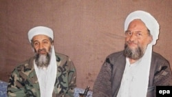 Osama bin Laden (left) and his deputy, Ayman al-Zawahri, at an Afghan hideout in November 2001