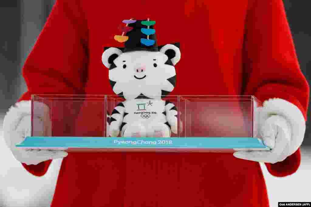 Усе прызэры Алімпіяды ўПхёнчхане атрымліваюць наадмысловай цырымоніі талісмана Гульняў— тыгра Сухарана