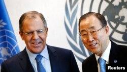 Глава МИД России Сергей Лавров с Генеральным секретарем ООН Пан Ги Муном после заседания Совета Безопасности ООН