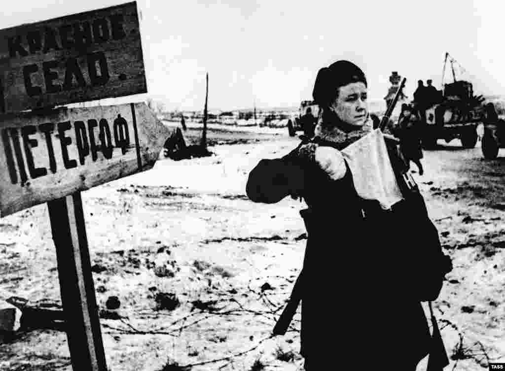 A resident of Leningrad waits in the final days before the siege is lifted.