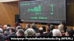 Провладна більшість кримського парламенту підтримує законопроект Ківалова-Колесніченка, Сімферополь, 22 лютого 2012 року