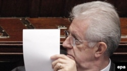 Italian Prime Minister Mario Monti during the reading of his government's program in parliament on November 18.