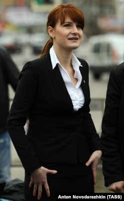 Butina attends a rally in Moscow in April 2013 in support of legalizing the possession of handguns.