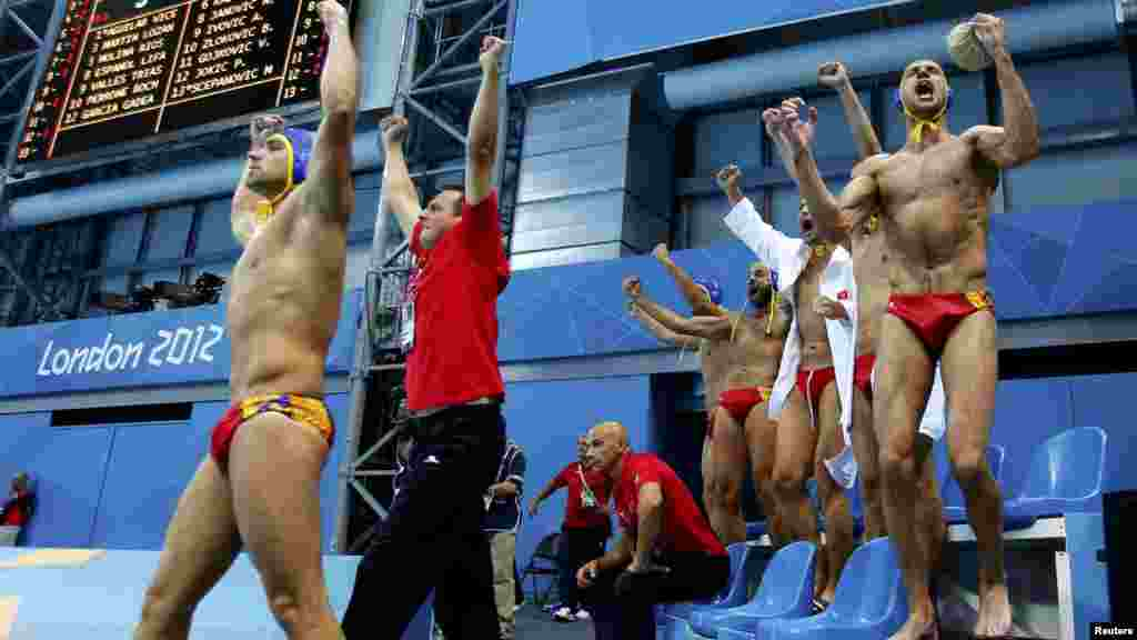 Monteneqro heyəti İspaniyaya qarşı kişilərin su polosu yarışının 1/4 finalında qələbələrini qeyd edir