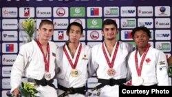 Победители первенства мира по дзюдо в весовой категории до 66 кг. Второй справа - Джамолиддин Абдуллоев