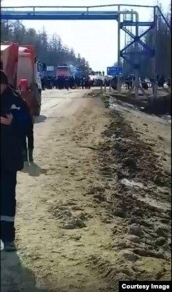 Перекрытая дорога на аэропорт