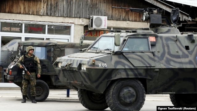 A Macedonian armored personnel carrier in Kumanovo, where security forces fought an armed group.