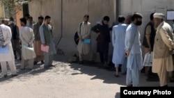 Afghan Kazakhs at the Kazakh Embassy in Kabul on September 5.