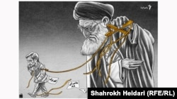 Graphic/Iran -- A graphic by Iranian cartoonist Shahrokh Heidari, End of freindship between Khamenei and Ahmadinejad