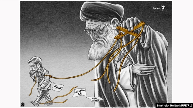 "A graphic by Iranian cartoonist Shahrokh Heidari for Radio Farda. ""End of freindship between Khamenei and Ahmadinejad"", 29 Mar 2018 Fardakator."