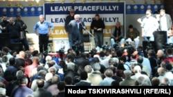 Saakaşwiliniň häkimiýetden gitmegini talap edýän protest çykyşlary, Tbilisi, 24-nji maý.