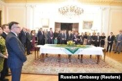 Recepția organizată la Ambasada Rusiei de la Londra pentru cei 23 de diplomați expulzați, 16 martie 2018
