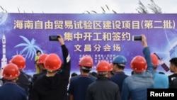 Церемония подписания соглашения о создании зоны свободной торговли в провинции Хайнань, Китай, 28 декабря 2018 года.