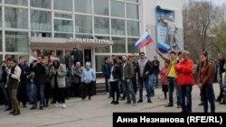 Участники митинга в Хабаровске