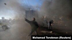 """""""Ziua mâniei"""" ca reacție la decizia lui Donald Trump de a recunoaște Ierusalimul drept capitală a Israelului la așezarea Beit El din apropiere de Ramallah, Cisiordania, 8.12.2007"""