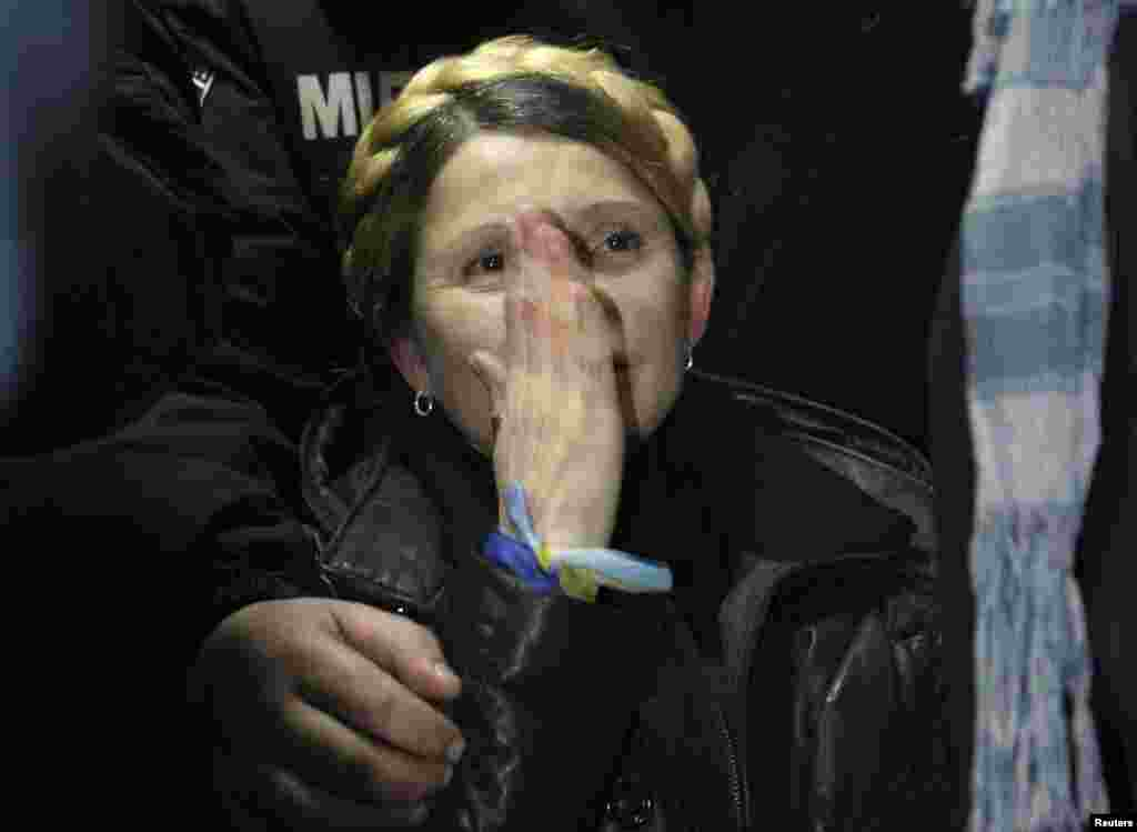 Ukrainian opposition leader Yulia Tymoshenko becomes emotional after she was freed on February 22, 2014.
