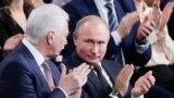 Президент Росії Володимир Путін і російський представник на Мінських перемовах по Донбасу Борис Гризлов на з'їзді парті «Єдина Росія»