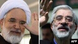 میرحسین موسوی (راست) و مهدی کروبی