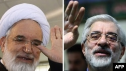A composite photo of opposition leaders Mir Hossein Musavi (right) and Mehdi Karrubi