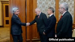 Armenia - President Serzh Sargsian meets the OSCE Minsk Group co-chairs in Yerevan, 27 March 2017.