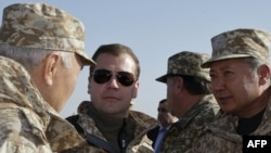 Russian President Dmitry Medvedev (center, with left to right: Kazakhstan's Nursultan Nazarbaev, Tajikistan's Emomali Rahmon, and Kyrgyzstan's Kurmanbek Bakiev at CSTO exercises) hopes to make the CSTO a rival to NATO.