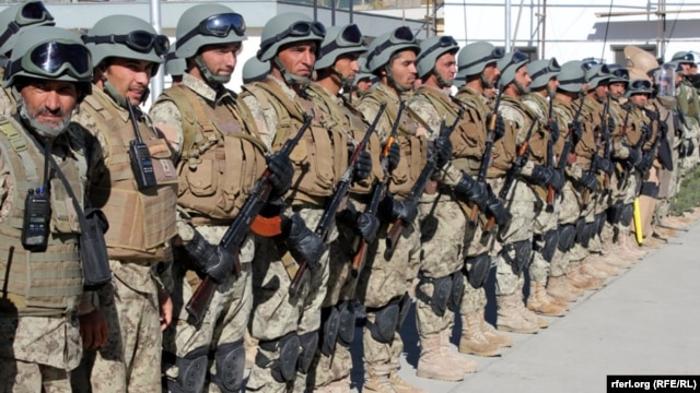 Afghan National Army troops on parade in Kabul in November