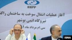 علیاکبر صالحی (راست)، رئیس سازمان انرژی اتمی ایران، و سرگی کریینکو