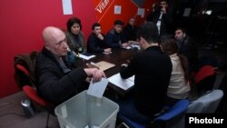 Armenia - Members of a precinct commission count ballots cast in a constitutional referendum, Yerevan, 6Dec2015.