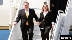 U.S. Secretary of State Mike Pompeo disembark from their aircraft upon their arrival at Beirut airport. March 22, 2019
