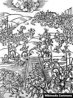 Гравюра з выданьня 1515 года, дзе быў надрукаваны ліст Якуба Піза з апісаньнем Аршанскай бітвы