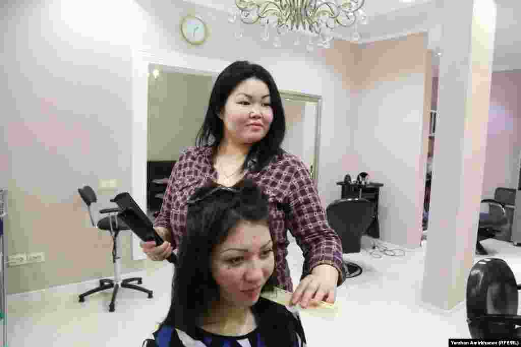 Aizhan Mukasheva works as a hairdresser in Astana, Kazakhstan.