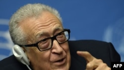 International envoy for Syria Lakhdar Brahimi at Syrian peace talks in Geneva.