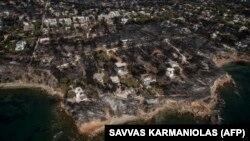 Наслідки пожежі в селі Маті біля Афін