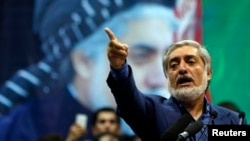 """Afghan presidential candidate Abdullah Abdullah says he won the election and he will """"not accept a fraudulent result, not today, not tomorrow, never."""""""