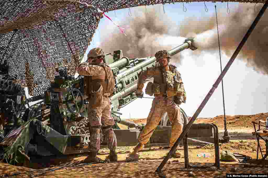 U.S. Marines firing a howitzer during fighting in northern Syria in March 2017. American troops have been operating inside Syria since early 2016.