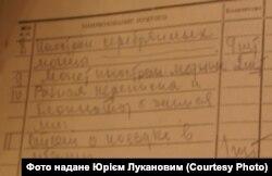 Фрагмент протоколу обшуку у Костянтина Луканова