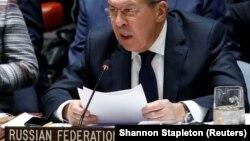 Serghei Lavrov adresîndu-se membrilor Consiliului de Securitate ONU la 18 ianuarie