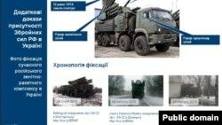 """Ұлыбритания сыртқы істер министрлігі Украина шығысында түсірілді деп жариялаған ресейлік """"Панцирь-С1"""" зениттік зымыран кешенінің суреттері."""