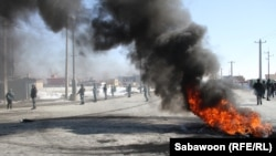 A protest last week outside Bagram air base near Kabul, where Korans suspected of being used by prisoners to pass messages were incinerated.
